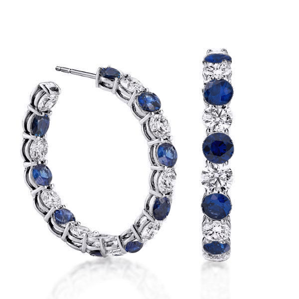 Classic Blue Sapphire Round Cut Hoop Earrings, White