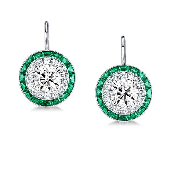 Luxury Halo Created Emerald Sapphire Drop Earrings, White
