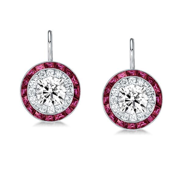 Luxury Halo White & Garnet Drop Earrings