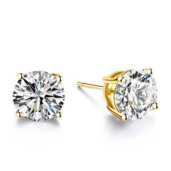 Classic 4 Prong Sapphire Stud Earrings, White