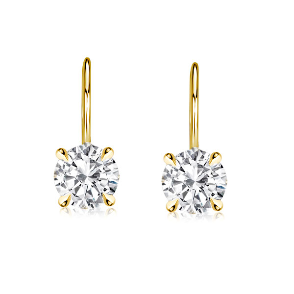 Classic 4 Prong Round Cut White Sapphire Earrings