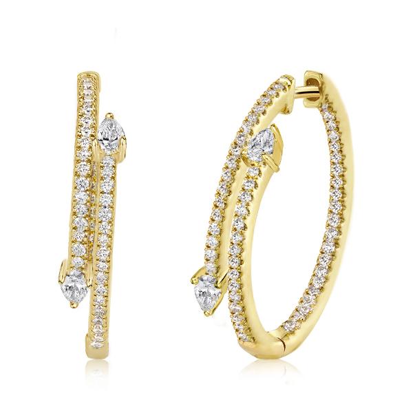 Golden Pear Cut Hoop Earrings