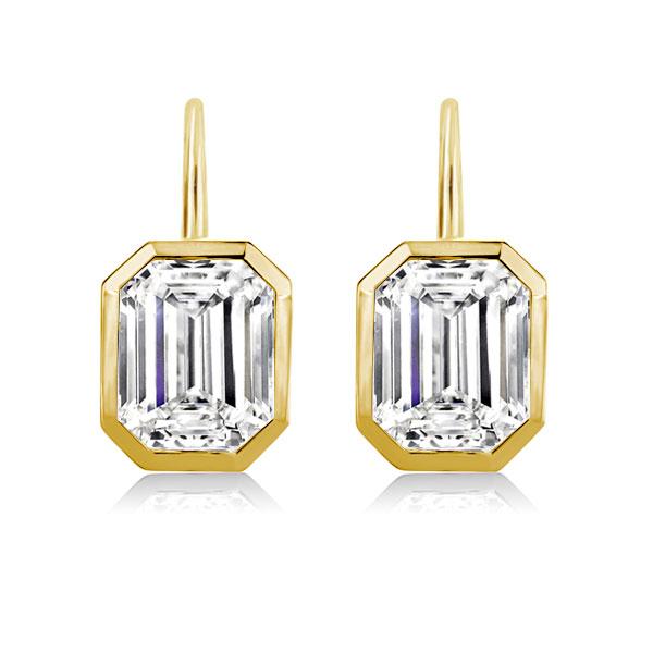 Golden Bezel Setting Emerald Drop Earrings