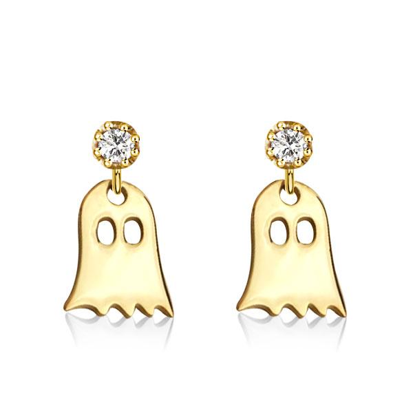 Golden Ghost Round Cut Drop Earrings