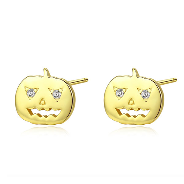 Golden Pumpkin Round Cut Stud Earrings