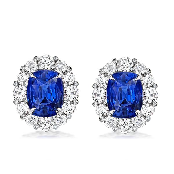 Halo Oval Created Sapphire Stud Earrings