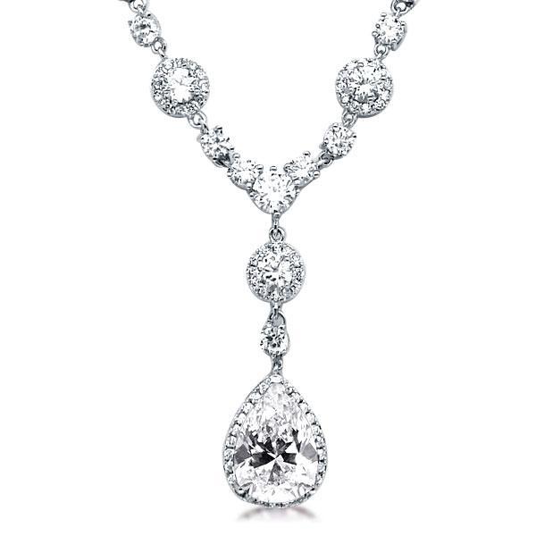 Fashion Halo Pear & Round Pendant Necklace, White