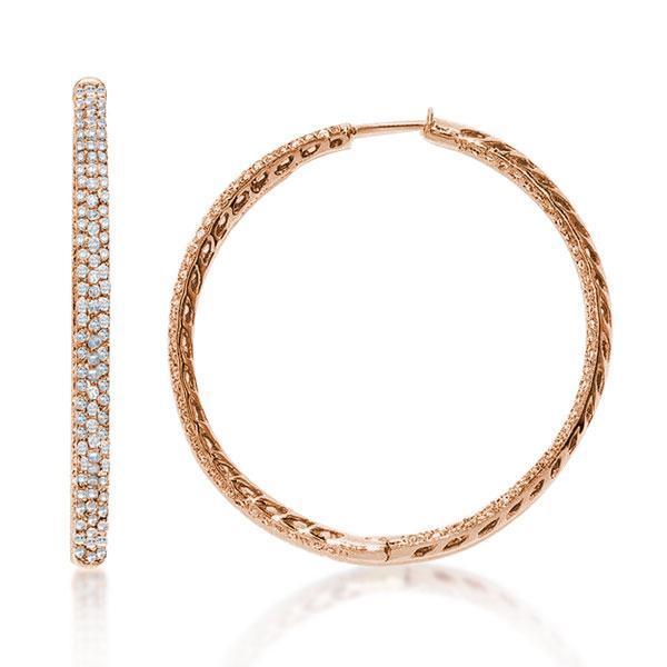 Rose Gold Round Cut Hoop Earrings