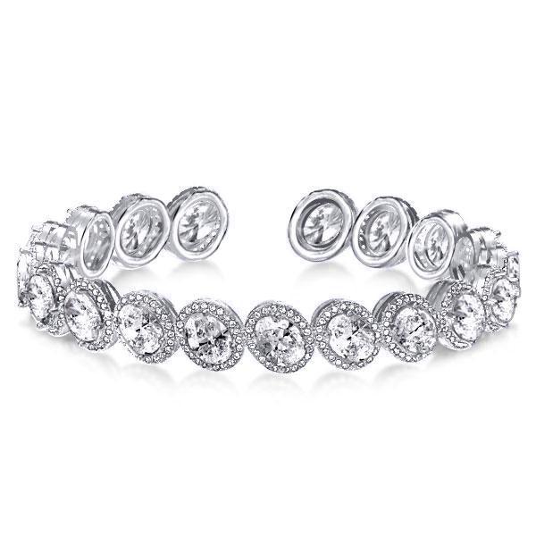 Halo Oval Cut Fashion Bangle Bracelet, White