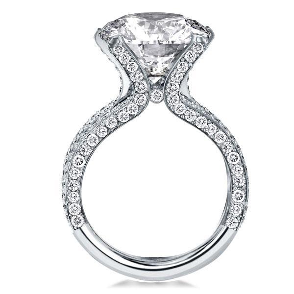 Split Shank Tension Setting Round Engagement Ring, White