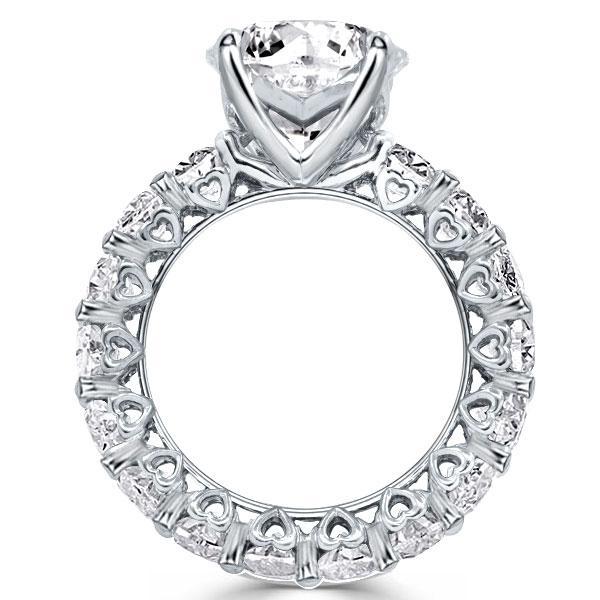Eternity Heart Design Round Engagement Ring, White