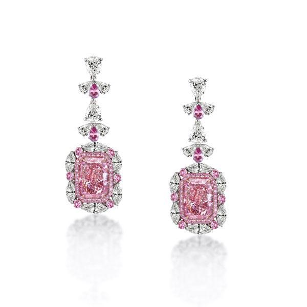 Halo Radiant & Marquise Cut Drop Pink Earrings, White