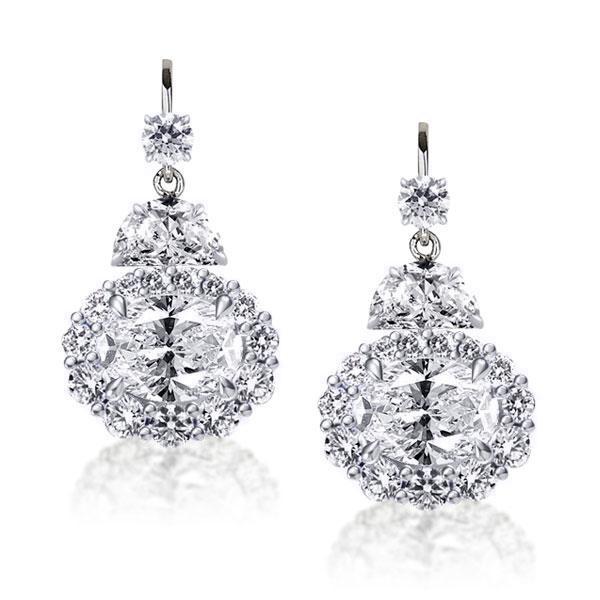 Halo Oval & Round Cut Drop Earrings, White
