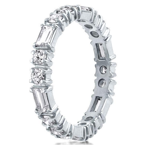 Eternity Unique Round & Baguette Cut Wedding Band, White