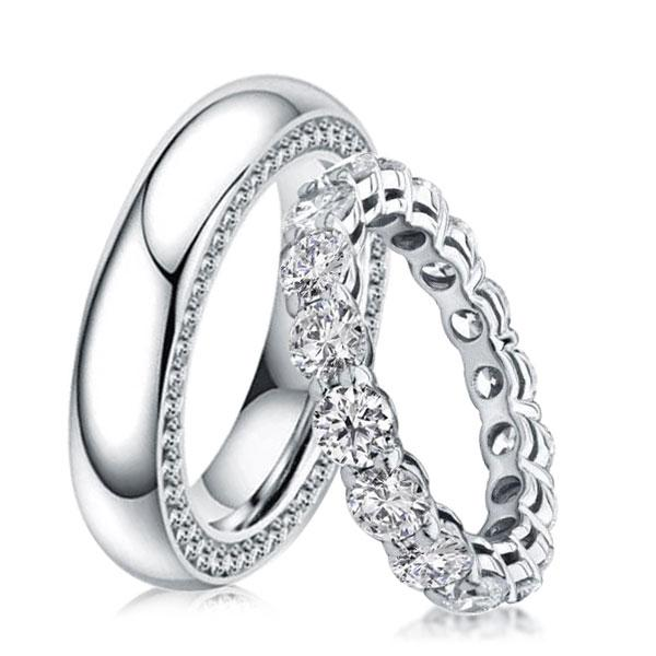 Eternity Round Cut Prong & Pave Best Couple Rings, White