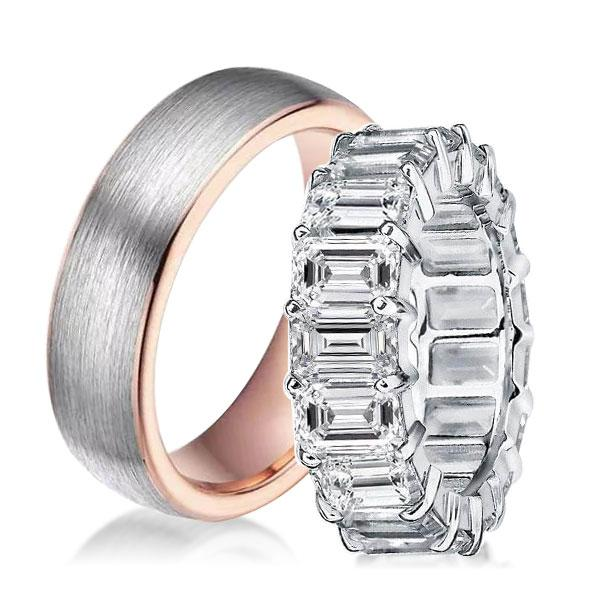 Two Tone Eternity Emerald Cut Classic Couple Rings, White