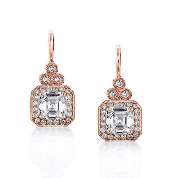 Halo Asscher Cut Drop Rose Gold Earrings
