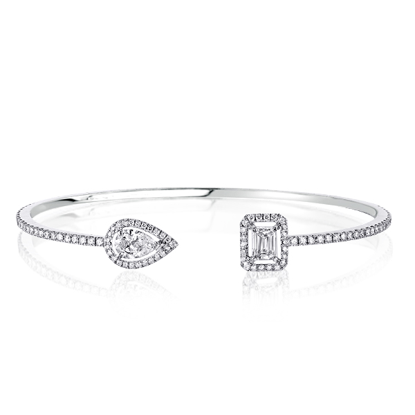 Halo Pear & Emerald Cut Bracelet, White