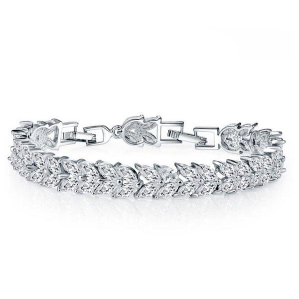Wheat Design Created White Sapphire Bracelet
