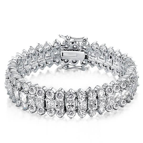 Triple Row Radiant Tennis Bracelet, White