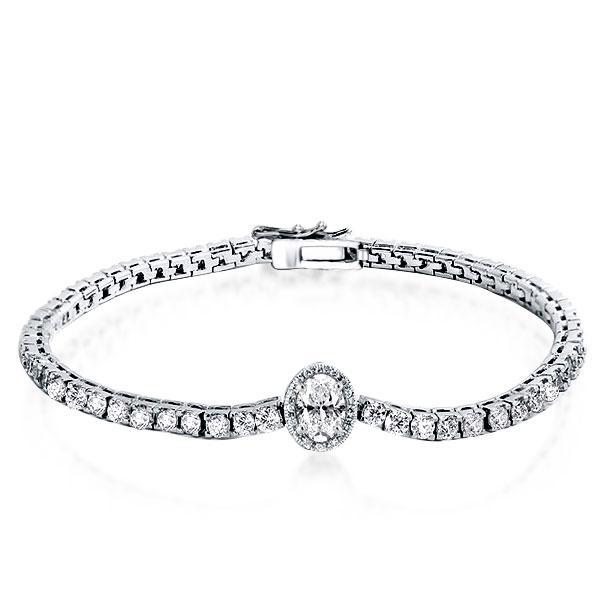 Halo Oval Tennis Bracelet, White