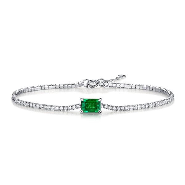 Emerald & Round Tennis Bracelet, White