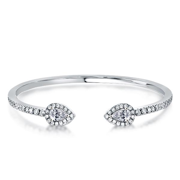 Halo Pear Cut Open Bangle Bracelet, White