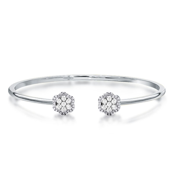 Halo Round Cut Cluster Cuff Bracelet