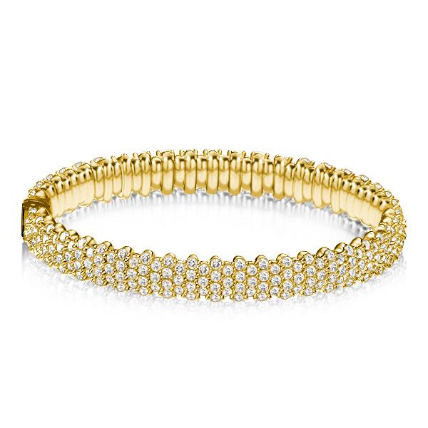 Golden Pave Setting Eternity Bangle Bracelet