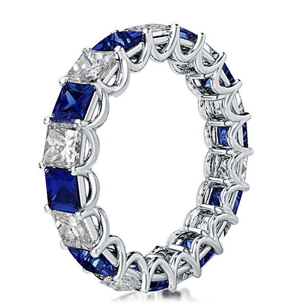 Eternity Shared Prong Blue & White Princess Cut Wedding Band