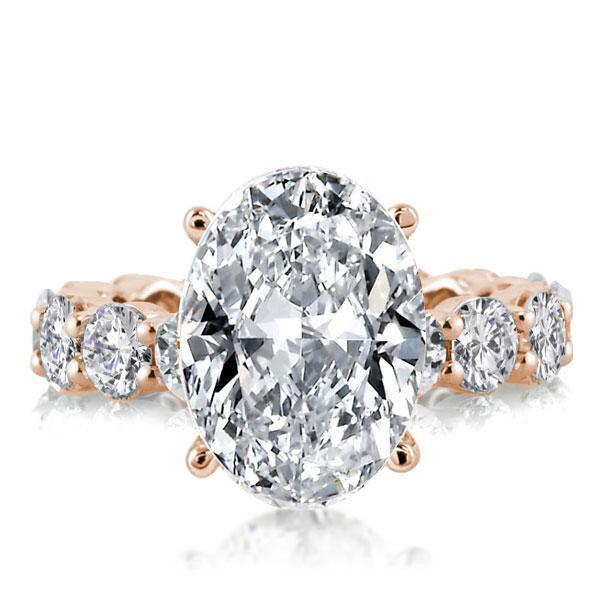Rose Gold Eternity Oval Engagement Ring, White