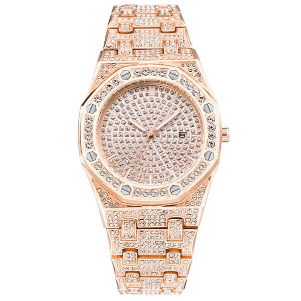 Vintage Pave Setting Rose Gold Men's Watch, White