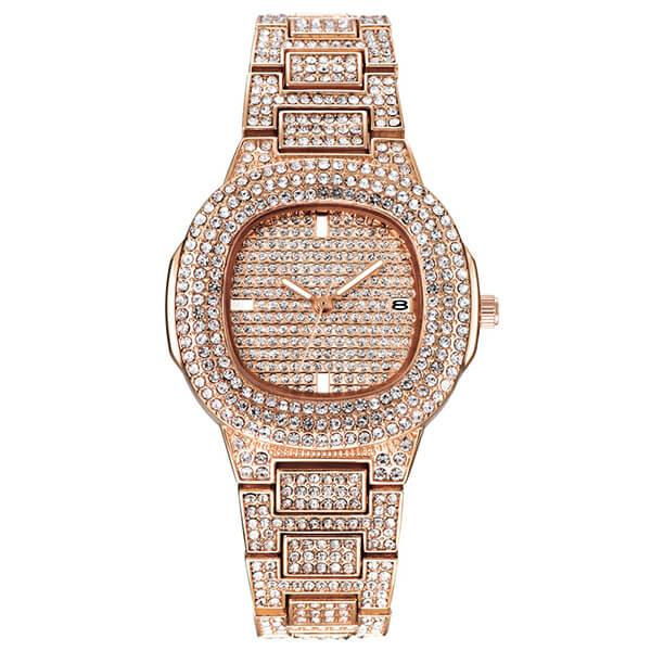 Pave Setting Rose Gold Created White Sapphire Men's Watch