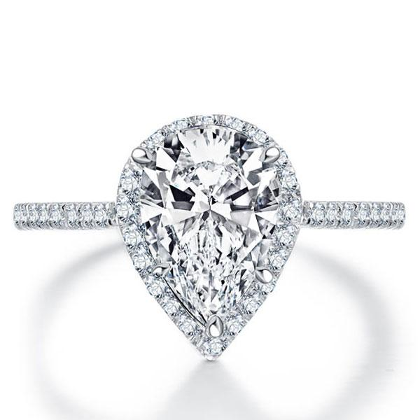 Italo Halo Pear Created White Sapphire Engagement Ring