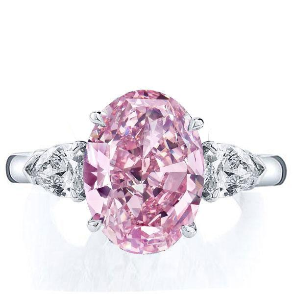 Italo Three Stone Oval Created Pink Sapphire Engagement Ring, White