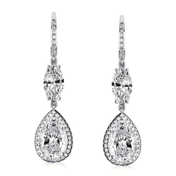 Halo Pear & Marquise Drop Earrings, White