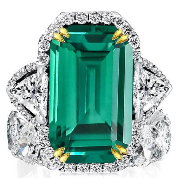 Two Tone Emerald Cut Three Stone Halo Eternity Women Bridal Set, White