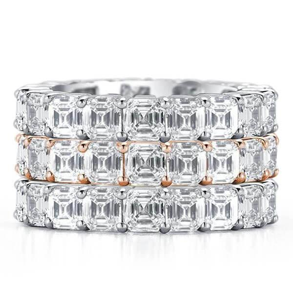 Eternity Two Tone Asscher Stackable Band Set, White