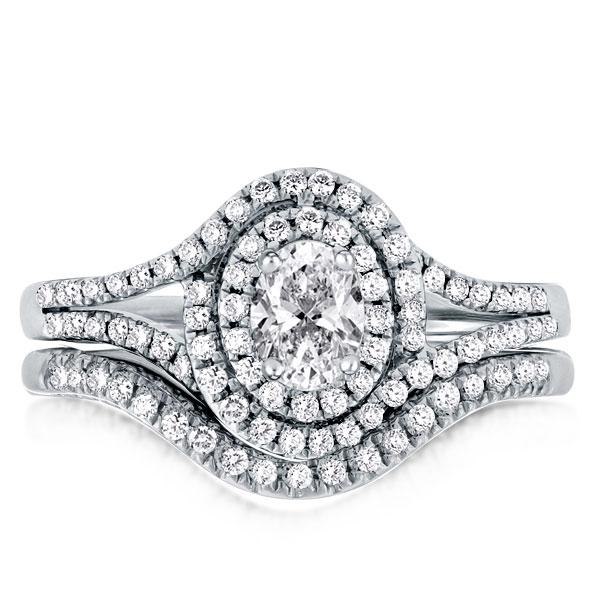 Double Halo Split Shank Oval Cut Guard Bridal Set Ring, White