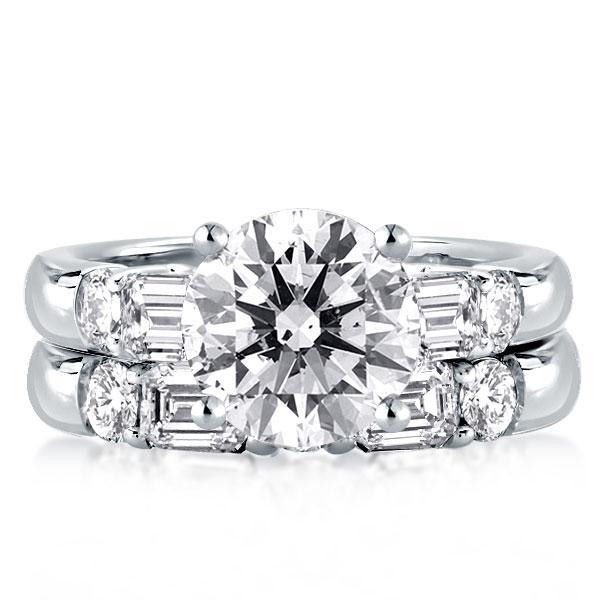 Classic Five Stone Round & Baguette Bridal Set, White