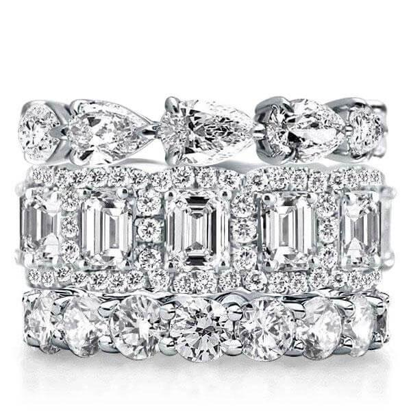 Eternity Halo Pear & Emerald & Round Stackable Band Set, White