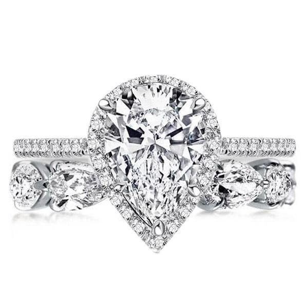 Classic Halo Pear Cut Bridal Set, White