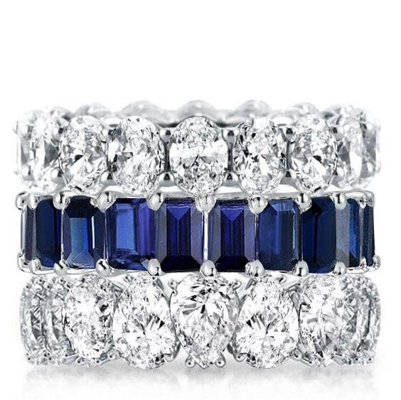 Triple Row Blue Oval & Emerald & Pear Stackable Band Set, White