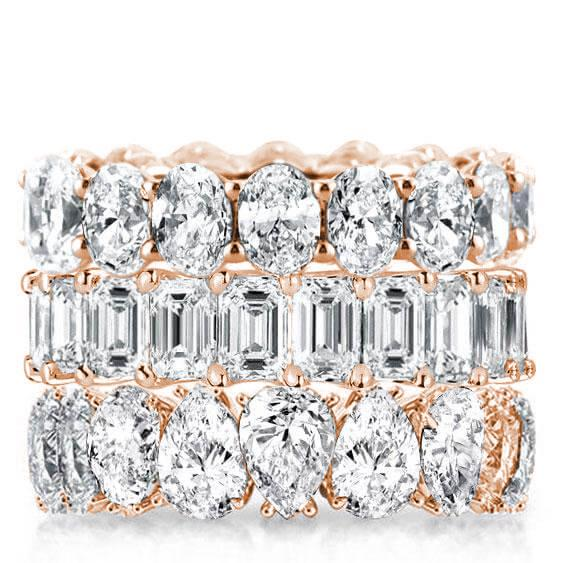 Rose Gold Triple Row Oval & Emerald & Pear Stackable Band Set, White