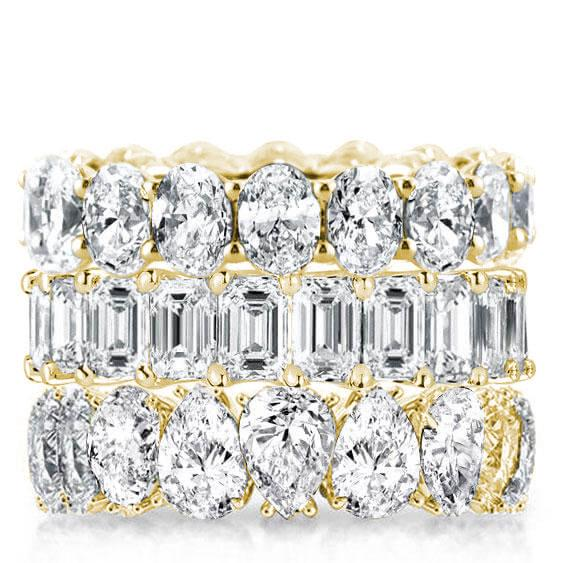 Gold Triple Row Oval & Emerald & Pear Stackable Band Set, White
