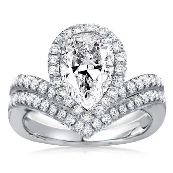 Halo V-Design Pear Cut Bridal Set, White