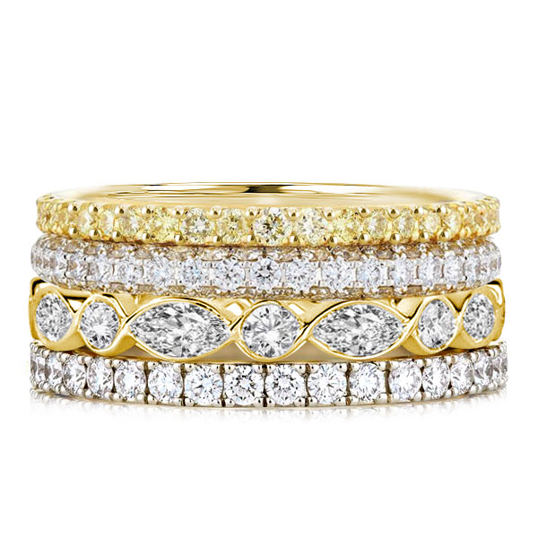 Two Tone Round & Marquise Cut Stackable Rings, White