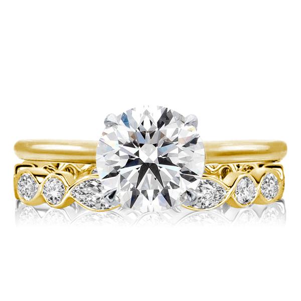 Two Tone Golden Round Cut Bridal Set, White