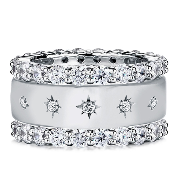 Triple Row Round Cut Eternity Stackable Band Set, White