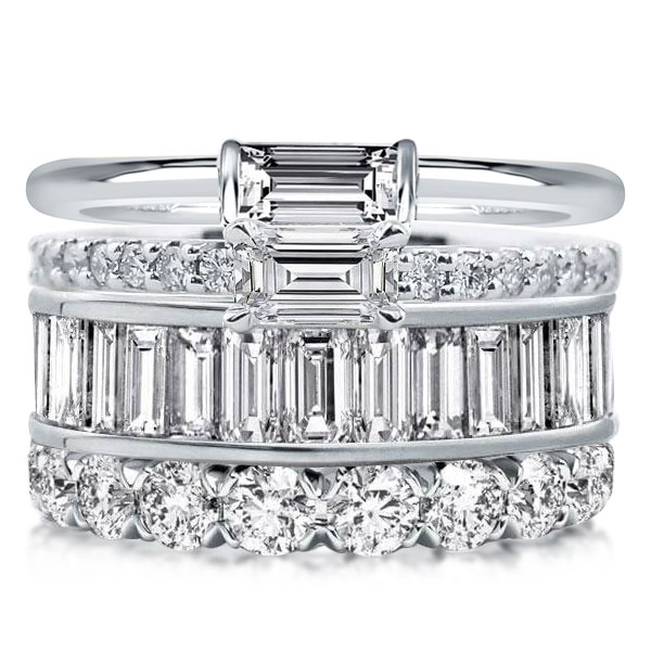 Four Row Baguette & Emerald & Round Cut Stackable Band Set
